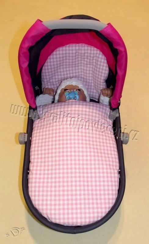 SDS Peřinky do kočárku pro panenky Kostičky růžová 27x40, 25x20 cm