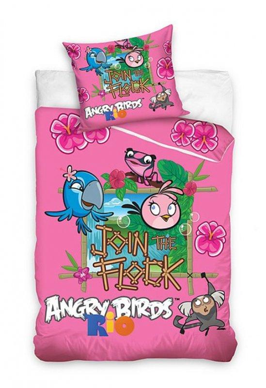 Povlečení Angry Birds Rio růžová 140/200