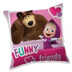 JERRY FABRICS Povlak na polštářek Máša a Medvěd Friends micro Polyester, 40/40 cm