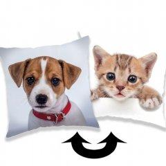 Měnící polštářek s flitry Pes a Kočka 40/40