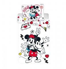 Povlečení Mickey a Minnie Retro Heart micro 140/200, 70/90