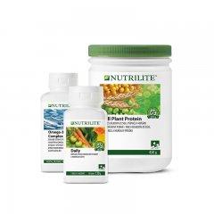 Balíček Foundational Trio s NUTRILITE™ Daily 90 tablet, Omega-3 Complex 90 tablet a NUTRILITE All Plant Protein 450 g