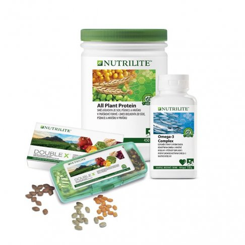 Balíček Foundational Trio s Omega-3 Complex 130 g, All Plant Protein 450 g a NUTRILITE™ DOUBLE X™ 18