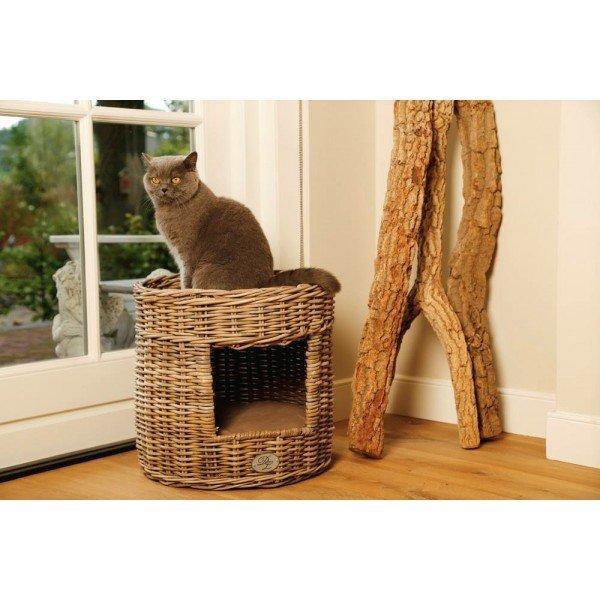 Pelíšek a odpočívadlo z ratanu pro kočku