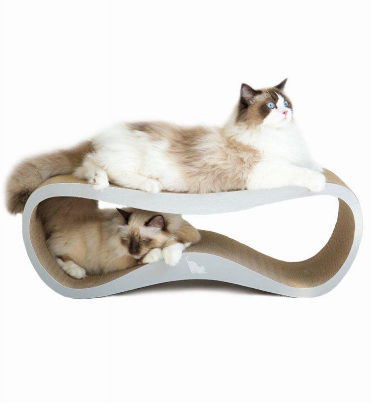 Kočičí škrabadlo z kartonu - šedá