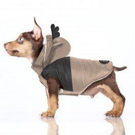 Zimní kabát se sobíma ušima pro psa