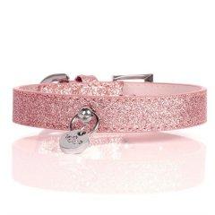 Luxusní třpytivý kožený obojek pro psy - růžová