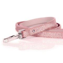 Luxusní třpytivé kožené vodítko pro psy - růžová
