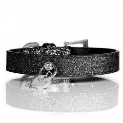 Luxusní třpytivý kožený obojek pro psy - černá