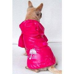 Nepromokavý kabátek a pláštěnka s kapucí pro psy - růžová
