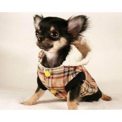 Kabátek pro psy - béžová kostka