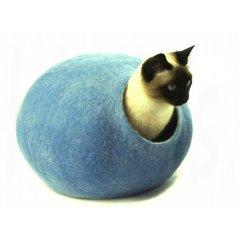 Ručně plstěný Cocoon pelíšek z ovčí vlny pro kočky - modrá