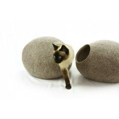 Ručně plstěný Cocoon pelíšek z ovčí vlny pro kočky - světle hnědá