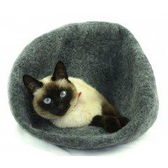 Ručně plstěný Cocoon pelíšek z ovčí vlny pro kočky - tmavě šedá
