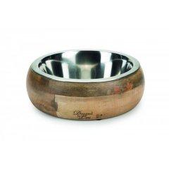 Nerezová miska v dřevěném boxu Mandira pro psa a kočku