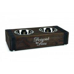 Nerezová miska v dřevěném boxu Brocante pro psa a kočku