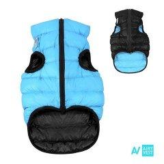 Prošívaná 2v1 oboustranná AIRY vesta pro psa - černá a modrá
