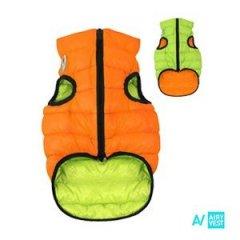 Prošívaná 2v1 oboustranná vesta AIRY pro psa - zelená a oranžová