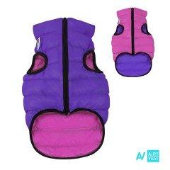 Prošívaná 2v1 oboustranná vesta AIRY pro psa - růžová a fialová