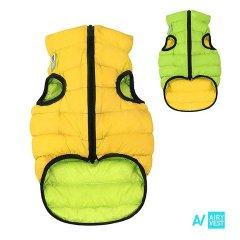 Prošívaná 2v1 oboustranná vesta AIRY pro psa - žlutá a zelená