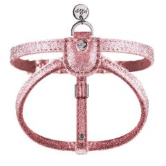 Luxusní třpytivý kožený postroj pro psy - růžová