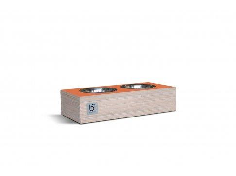 Elegantní nerezová dvojmiska pro psy a kočky v designovém dřevěném boxu.