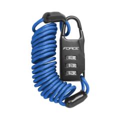 Zámek F SMALL spirálový kódový 120 cm/3 mm, modrý