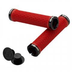 SRAM Locking gripy červené s objímkami a s koncovkami řidítek