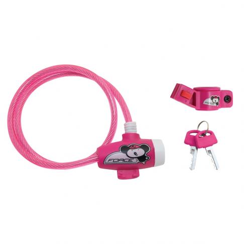 Zámek FORCE dětský s držákem 80 cm/8 mm, růžový