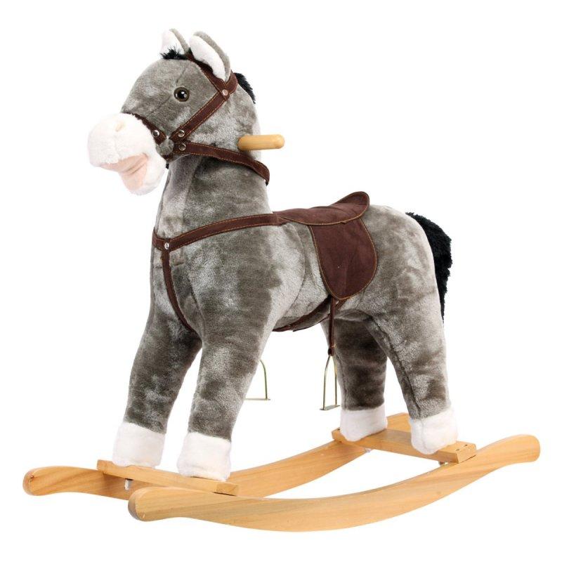 Houpací kůň, plyšový, šedivý