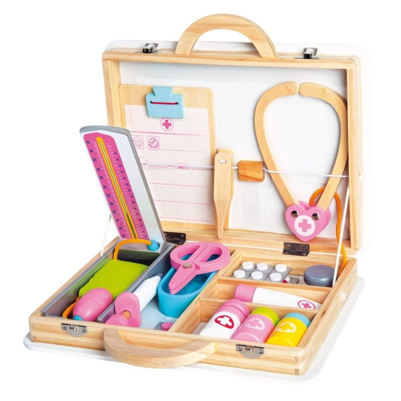 Lékařský set v dřevěném kufříku