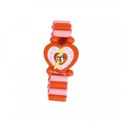 Dřev.hodinky červené 4 ks