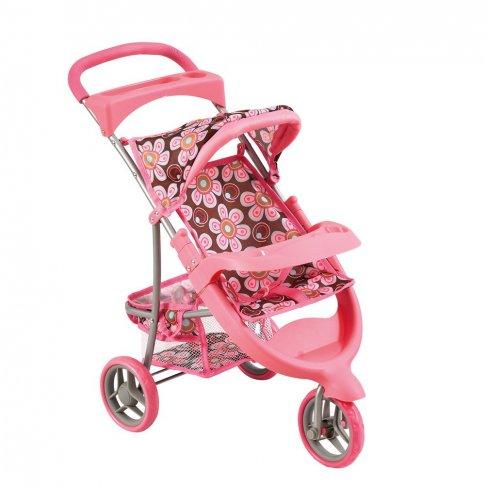 Kočárek pro panenky, růžový
