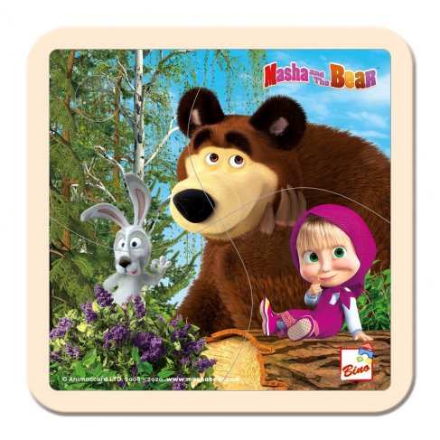 Máša a Medvěd puzzle se zajícem 15x15cm