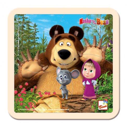 Máša a Medvěd puzzle s myškou 15x15cm