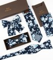 Navy blue floral self-tie bow tie