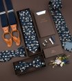 Navy blue and brown floral self-tie bow tie