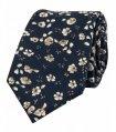 Tmavomodrá kravatová sada s kvietkami