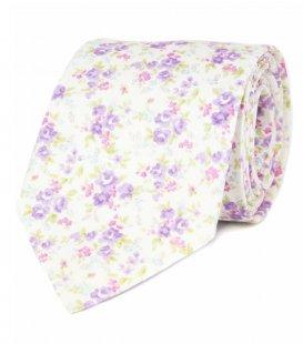 Bílá kravata s fialovými květy