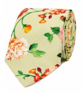 Zelená kravata s květy