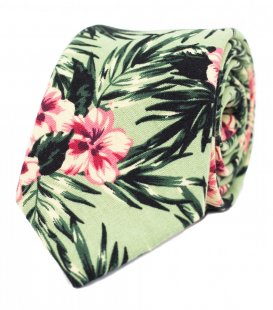 Green tropical hibiscus tie