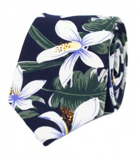 Navy tropical floral tie