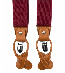 Burgundy button and clip suspenders for men
