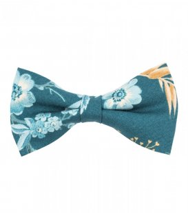 Blue teal floral pre-tied bow tie
