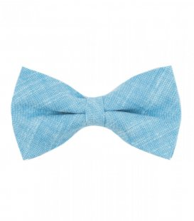 Azure blue pre-tied bow tie