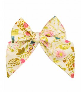 Cream mustard floral ladies tie