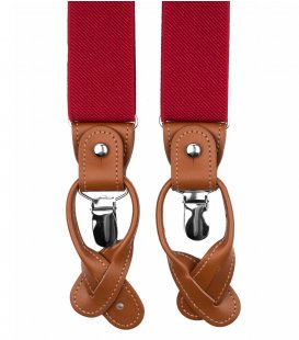 Red button and clip suspenders for men