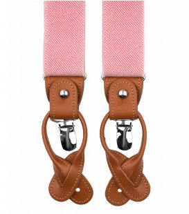 Pink button and clip suspenders for men