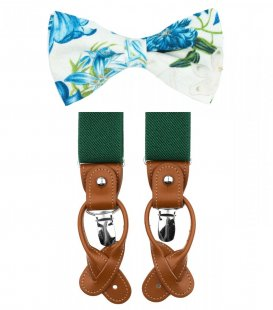 Blue and green bow tie suspenders set