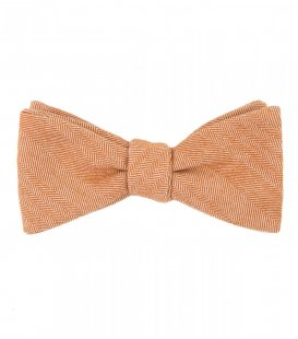 Orange herringbone bow tie
